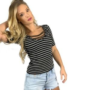American Eagle Outfitters striped lace up top